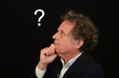Man with Question. Man looking and thinking about a question Royalty Free Stock Images