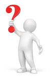 Man and question (clipping path included) Stock Photos