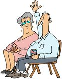 Man with a question. This illustration depicts a man with his arm raised and a woman seated beside him looking on Stock Photography