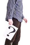 Man with question mark Stock Photos