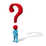 Man with question mark. 3d man with red question mark isolated on white background with shadow stock illustration