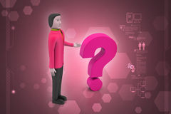 Man with question mark Stock Photography