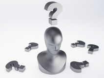 Man with question mark. isolated white. Man with question mark 3d illustration Royalty Free Stock Photo