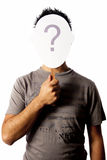 Man and a question mark mask Stock Image