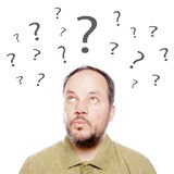 Man with question marks Royalty Free Stock Images