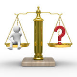 Man and question on scales Stock Photos