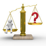 Man and question on scales. Isolated 3D Royalty Free Stock Photography