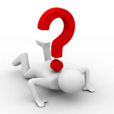 Man with question on white. Isolated 3D image Royalty Free Stock Photos