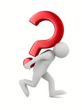 Man with question on white Royalty Free Stock Photos