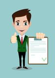 Man with a questionnaire. Good exam results paper sheet , quiz form idea, interview assessment illustration Stock Images