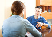 Man  questionnaire for social worker Stock Photo