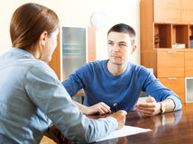 Man  questionnaire for social worker Stock Photography