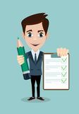 Man with a questionnaire. Survey form icon vector, flat style good exam results paper sheet , quiz form idea, passed questionnaire, interview assessment Stock Images