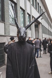 Man with rabbit mask outside Armani fashion show building for Mi Royalty Free Stock Photography