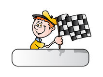 Man with race flag on finish. An illustration of chequered winning flag; Man with race flag on finish over isolated background Stock Photos