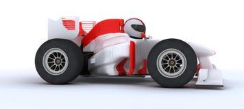 Man with racing car. 3D render of a man with race car Stock Image