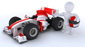 Man with racing car. 3D render of a man with race car Stock Photography