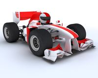 Man with racing car. 3D render of a man with race car Royalty Free Stock Photography