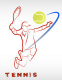 Man with racket. The figure shows a man with a tennis racket in his hands Stock Photo