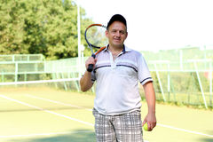Man with racket Royalty Free Stock Photography