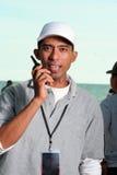 Man with radio communication Stock Photo