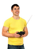 Man with radio remote control Stock Images