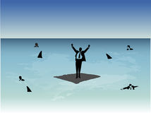 Man on raft. Business man on raft with sharks Royalty Free Stock Photo