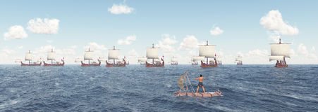Man on a raft and ancient Roman warships. Computer generated 3D illustration with a man on a raft and ancient Roman warships Stock Images