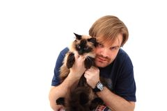 Man and ragdoll cat Stock Images