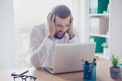 Man in rage. Portrait of angry businessman in bad mood failed an. D has problem royalty free stock photo