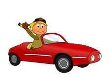 Man in ragtop. Happy young man in ragtop Royalty Free Stock Photo