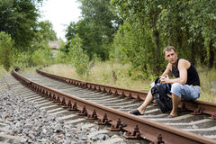 The man on the rails Stock Image