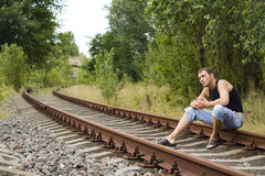 The man on the rails Royalty Free Stock Photos