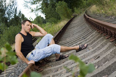 The man on the rails Royalty Free Stock Photography