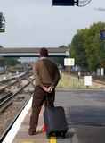 Man on railway station Royalty Free Stock Images