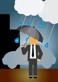 Man in Rain. Man holding an umbrella under the rain Stock Images