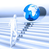 Man rain. White human up stairs in front a globe Royalty Free Stock Photo