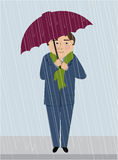 A Man in the Rain Stock Image