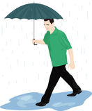 Man in the rain. A man with an umbrella in the rain quickly goes through the puddles. Vector illustration Stock Images