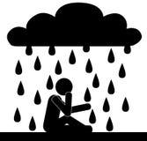 Man in rain Stock Photography