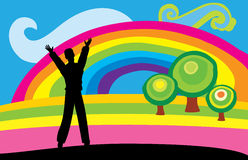 Man with rainbow Stock Photo
