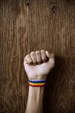 Man with a rainbow band in his wrist. Closeup of a young caucasian man with a band patterned as the rainbow flag tied to his wrist and his fist raised against a Royalty Free Stock Photography