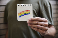 Man with a rainbow flag Royalty Free Stock Image