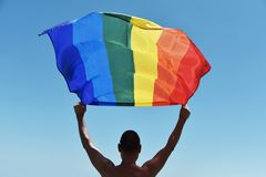 Man with a rainbow flag over his head. A shirtless young caucasian man seen from behind holding a rainbow flag over his head against the blue sky royalty free stock images