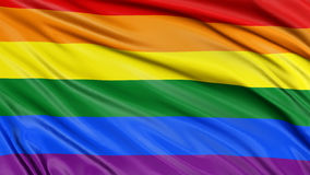 Man and Rainbow Gay Pride Flag Royalty Free Stock Photos