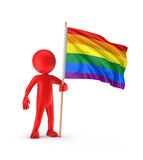Man and Rainbow Gay Pride Flag Royalty Free Stock Image