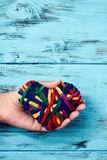 Man with a rainbow-patterned heart stock photos