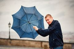 Man in rainy day Royalty Free Stock Photos