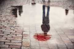 Man in rainy day. Rainy day. Reflection of young man with red umbrella in puddle on the city street during rain royalty free stock photos