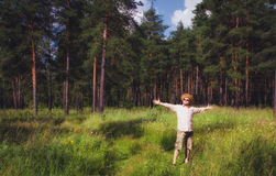 Man Raised Arms in Summer Forest Royalty Free Stock Image